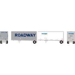 ATH10756 Athearn Inc N 28' Trailers w/Dolly, Roadway/Express (2)