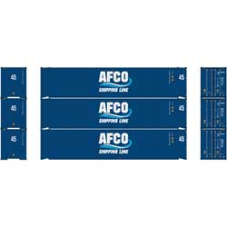 Athearn 23349 HO RTR 45' Container, AFCO/Shipping Line (3) ATH23349