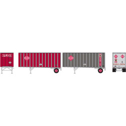 ATH91048 Athearn Inc HO RTR 28' Trailers w/Dolly, McLean (2)