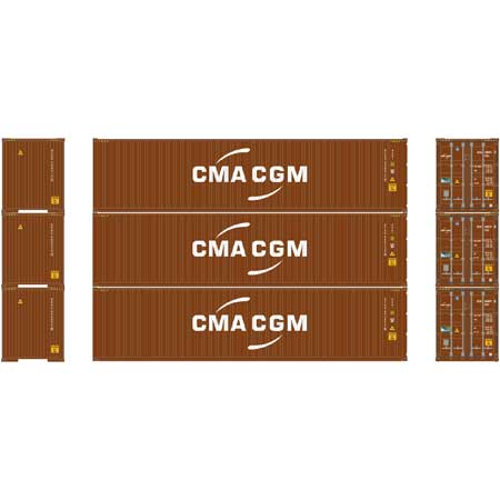 HO RTR 40' Hi-Cube Containers, CMA/CGM (3) (ATH24544): Athearn Trains