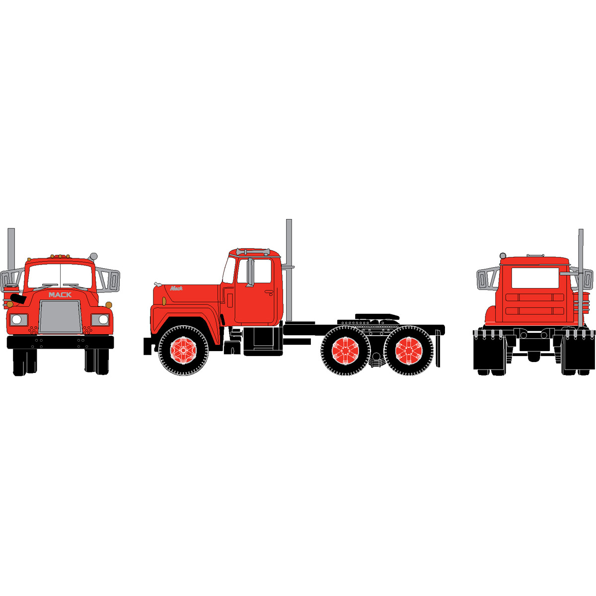 Athearn N Scale 3 Axle Tractor : N rtr mack r tractor w axle red ath athearn trains