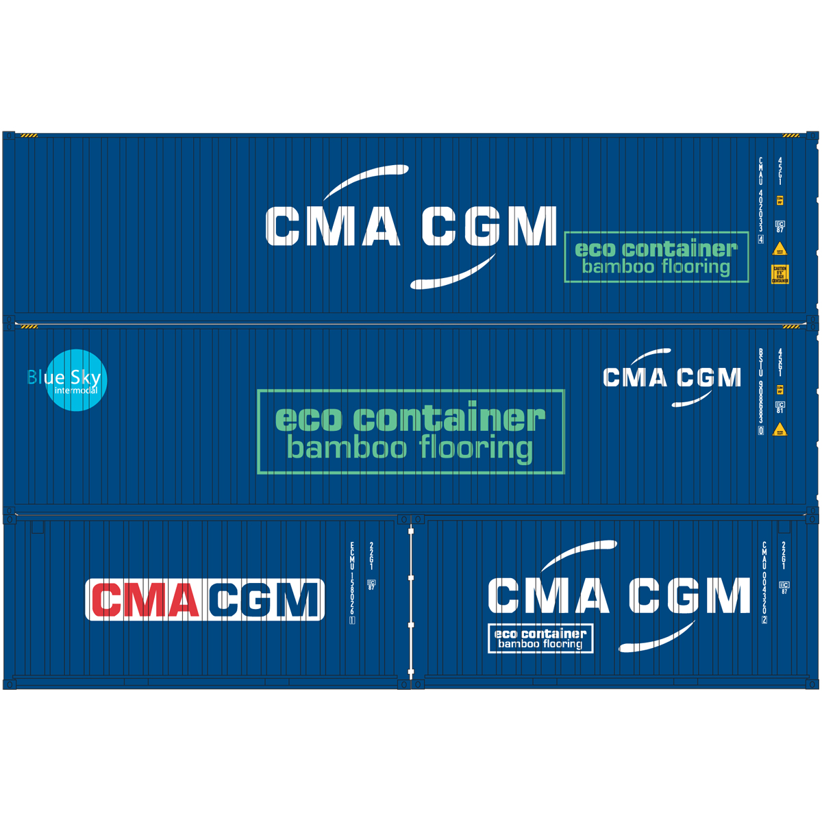 HO RTR 20' & 40' Containers, CMA-CGM (ATH27876): Athearn ...