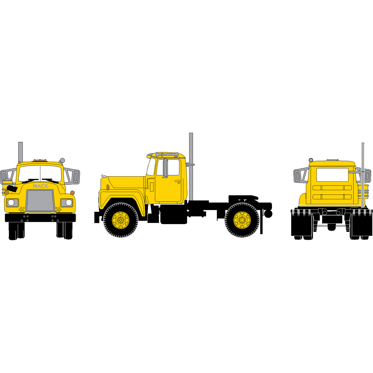 Athearn N Scale 3 Axle Tractor : Ho rtr mack r tractor w axle yellow ath athearn